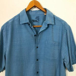 Tommy Bahama Blue Short Sleeve L Wire Striped Silk